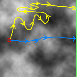 Example Depth Map With Source, Destination, and Two Possible Paths