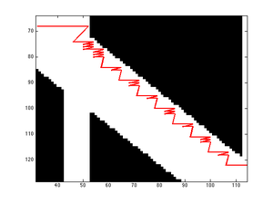 Zig-zag path due to low step cost and discontinuous image